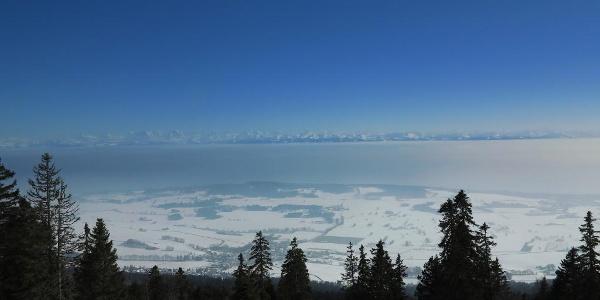 Weitblick vom Chasseral zu den Berner Alpen.