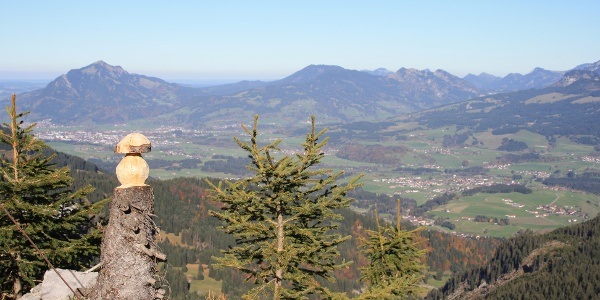 Holzskulptur nebem Gipfelkreuz