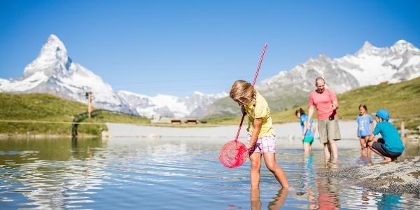 Leisee mit Bademöglichkeit, Picknickgelegenheit und Kinderspielplatz