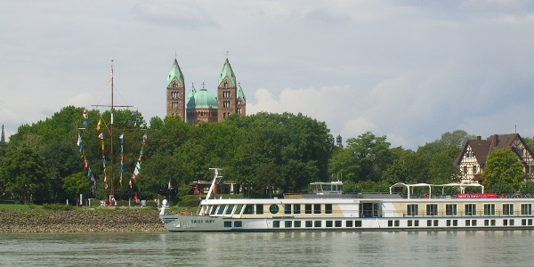 Rhein mit Speyer-Panorama