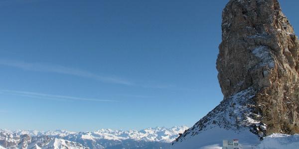 Beim Teufelsfelsen, Quille du Diable, mit Wallis-Panorama.