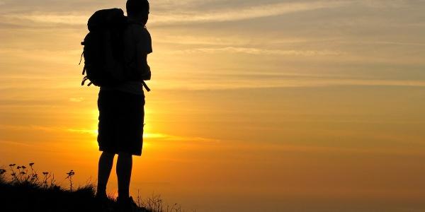 Walker at Sunset