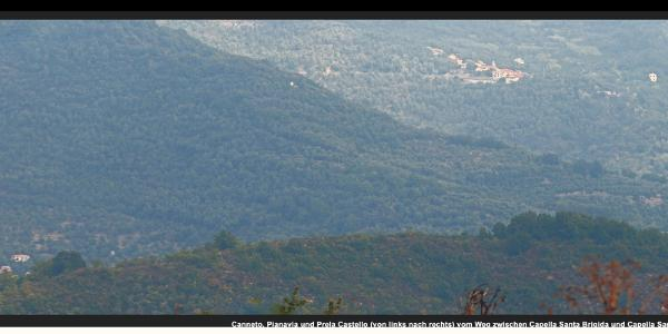 Canneto, Pianavia und Prela Castello (von links nach rechts) vom Weg zwischen Capella Santa Brigida und Capella San Bernardo