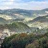 Blick von der Burgruine Krems zur Stubalm, rechts im Bild die Burgruine Obervoitsberg