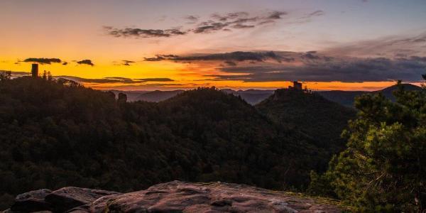 Sonnenuntergang über dem Trifels