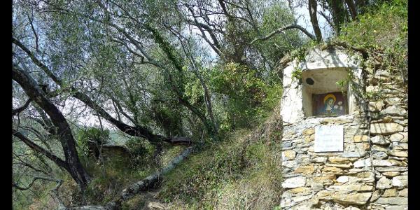 Heiligenbild am Wanderweg von Santa Brigida zur Ponte Martelli