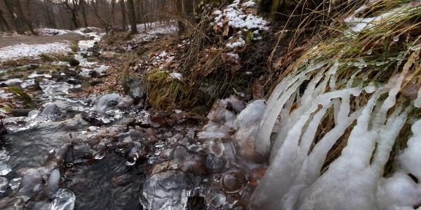 Jégformák a Rákóczi-forrás által táplált éren