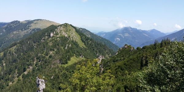 Blick vom Steig auf den Brandlberg, rechts in Wolken die Kampenwand