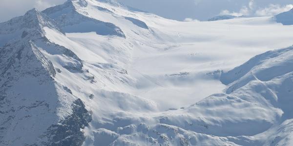 il ghiacciaio del Mandron visto dal Passo dello Sciatore