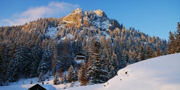 Brünnsteinhaus mit Bergwachthütte und Brünnstein