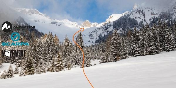 Übersichtsbild zur Skitour auf das Kalbenjoch von Trins - Topo