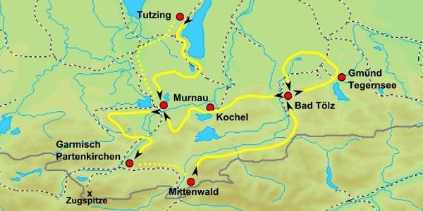 Radkarte Bayerische Seen