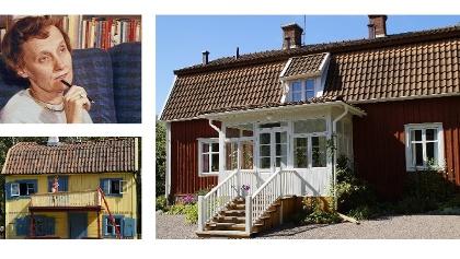Top left: Astrid Lindgren, bottom left: Villa Villekulla, right: Lindgren's parental home in Vimmerby
