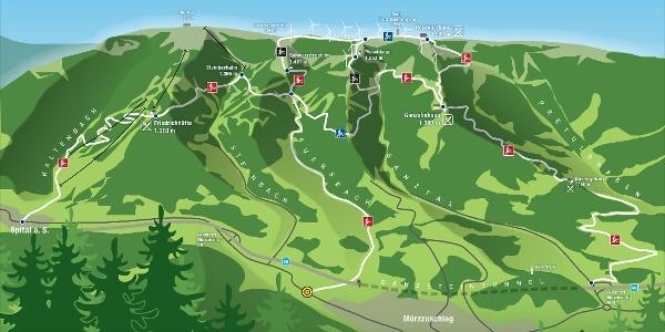 Übersichtskarte Mountainbike Pretul