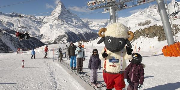 Au domaine pour les débutants Wolli, au Leisee, Zermatt, trois tapis magiques (bandes transporteuses) amènent les petits en haut de la piste.