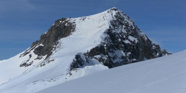 Kratzenberg Südflanke, Anstieg über die Kratzenbergscharte rechts und die rechte Firnflanke