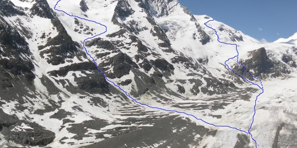 rechts Anstieg über Teufelskampkees, links Abfahrt über Hofmannskees