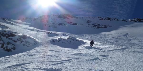 Ausfahrt aus dem direkten Gipfelhang