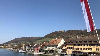 Blick auf Stein am Rhein mit Burg Hohenklingen im Hintergrund