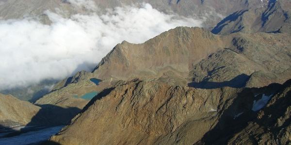 Blick von der Saldurspitze Richtung Norden über das Seeenplateau der Saldurseen