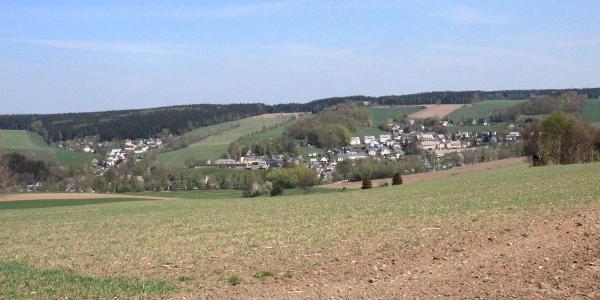 Blick auf Auerbach, Richtung Chemnitz
