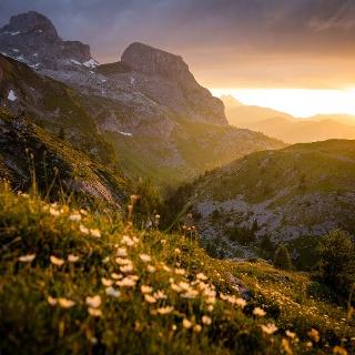 Sunset at Sanetsch pass.