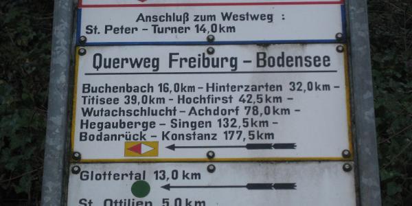 Ein historisches Wegeschild am Ausgangspunkt in Freiburg