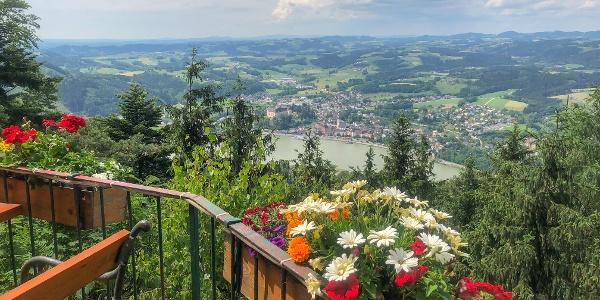 Herrlicher Panoramablick auf die oberösterreichische Stadtgemeinde Grein an der Donau im Unteren Mühlviertel (Bezirk Perg)