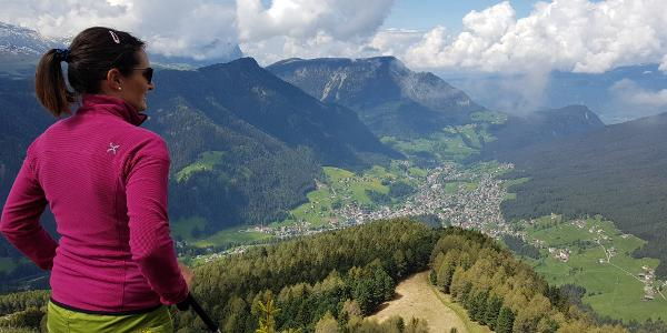 Aussicht von Seurasas nach St. Ulrich und Seiser Alm