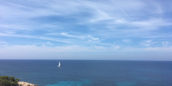 A lone yacht