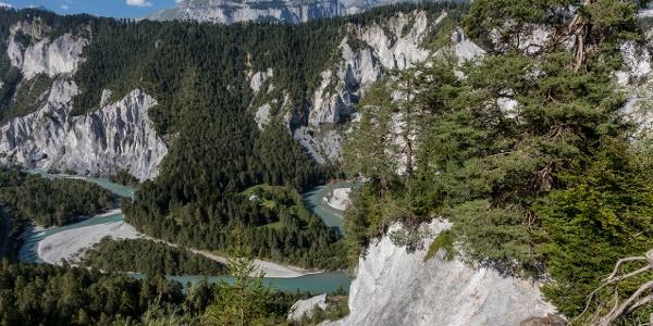 Rheinschlucht von der Aussichtsplattform Islabord