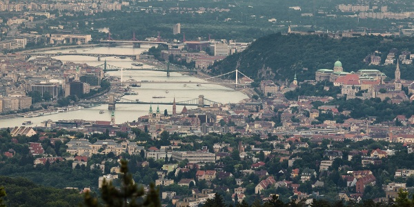 The Castle of Buda and bridges over the Danube from Guckler Károly lookout tower