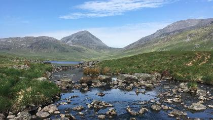 Stepping Stones across the stream from the loch