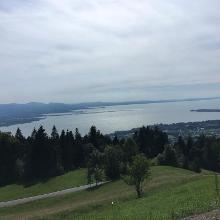 Ausblick auf den See während der Abfahrt