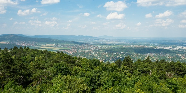 Pilis and Visegrád Mountains with Naszály in the background from Guckler Károly lookout tower