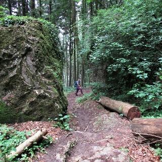 Riesige Felsblöcke sind stumme Zeugen der vergangenen Felsstürze