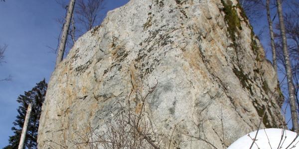 Findling aus Mittagfluh-Granit.