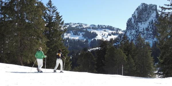 Schneeschuhläufer, im HIntergrund der Grosse Schijen