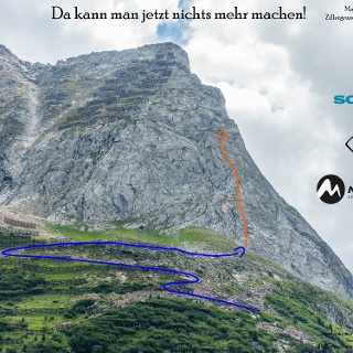 """Übersichtsbild der Klettertour """"Da kann man jetzt nichts mehr machen"""" über dem Zillergrund - Topo"""