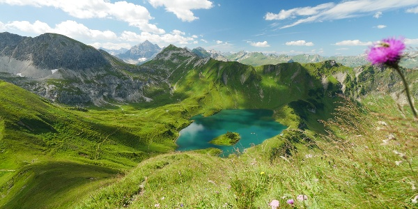 """View to the """"Schrecksee"""" from the mountain """"Knappenkopf"""""""