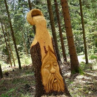 Holzskulptur Kopf