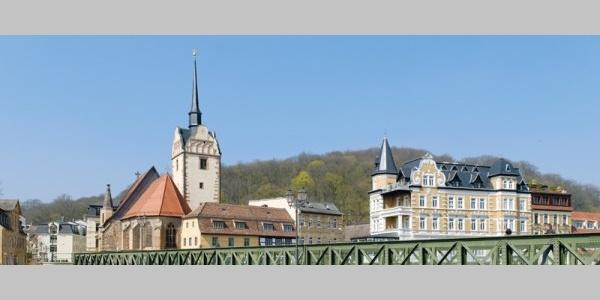 Blick von der Weißen Elster zur Marienkirche