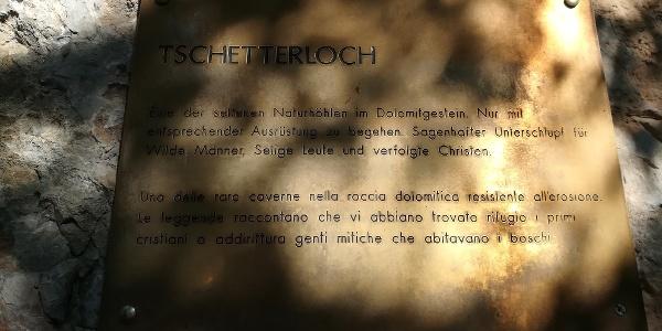 Hinweisschild am Tschetterloch