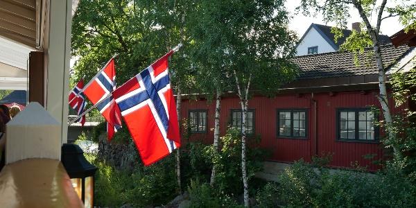 Norwegische Flagge in Lillehammer