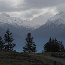 Blick von der Walder Alm auf die Tuxer Alpen
