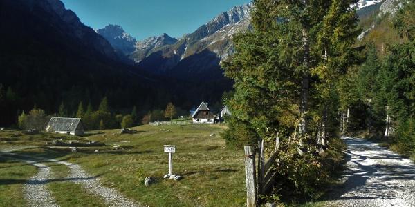 Auf dem Weg von der Hütte zur Soča-Quelle