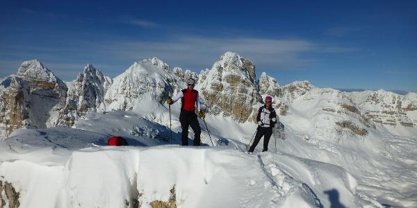 Scialpinistica a Cima Roma, sulla cima