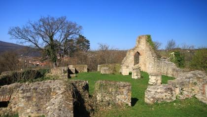 A 14. századi templom romjai a mecseknádasdi Vár-hegyen (Schlossberg)