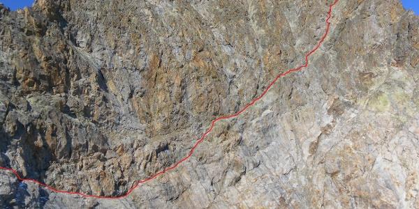 Anstiegsroute in der gewaltigen Ostwand der Cima Argentera