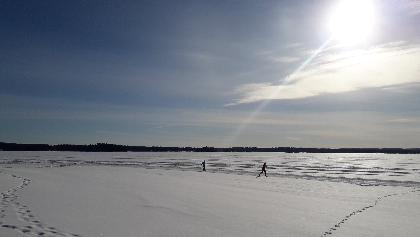 Late winter on the ice of lake Nuasjärvi, Aurinkolatu, Vuokatti Finland